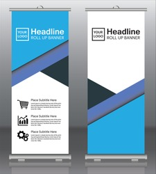 Banner roll-up, stand vector, graphic template for exhibition, conference, accommodation advertising information and photos. Business concept, vector