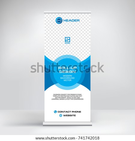 Banner roll-up, stand vector, graphic template for exhibition, conference, accommodation advertising information and photos. Business concept, vector background