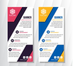 Banner roll-up vector, blue orange and pink purple graphic template for the exhibition stand, for the conference, accommodation advertising information and photos. Background vector use white colors.