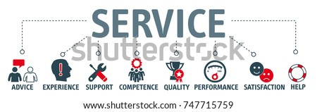 Banner service concept. Keywords and icons