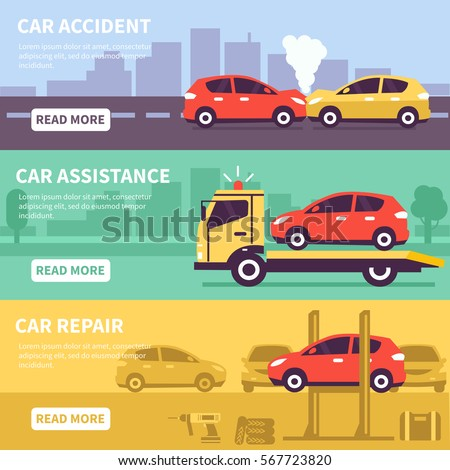 Banner set about car inuranse, assistance and service. Vector illusrtation.