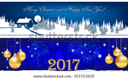 Banner set for Christmas and New Year 2017. Blue banners for winter holidays: Christmas and New year 2017 with Christmas baubles, winter landscape, fireworks. Size 950x250 #501923650