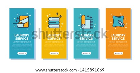 Banner set for dry cleaning concept with outline icons for laundry, dry cleaning, housekeeping services. Flat vector design. Modern graphic design. Home appliance. House laundry. Laundry detergent.