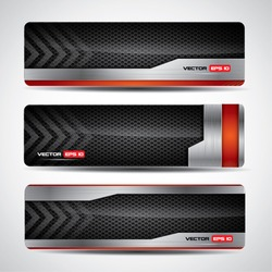 Banner set - metallic and carbon layout with red design elements