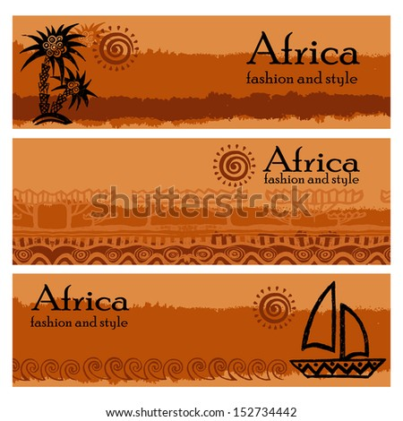 Banner set of travel. Tropical landscape