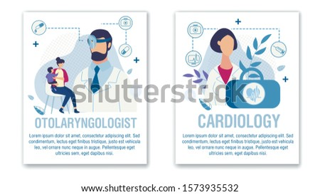 Banner Set Offer Otolaryngologist Cardiologist Aid. Online Medical Services for Adults and Children Ear, Nose, Throat and Heart Disease Diagnosis and Treatment. Vector Cartoon Illustration