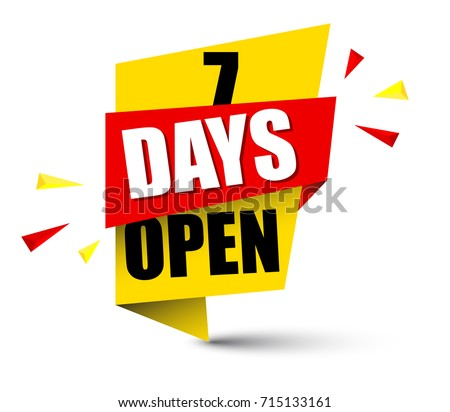 banner seven days open Stock foto ©