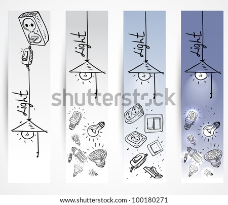 banner Sketch of different light bulbs switches and sockets