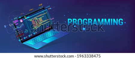 Banner Software Development. Programming, Web Site and App. Laptop with code and UI, UX interface. Development Software concept - coding, testing, usability, programming, design. Vector illustration Stock photo ©