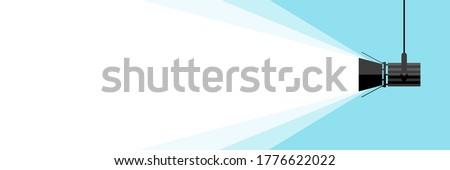 Banner spotlight . Vector flat spotlight on blue background. Vector illustration