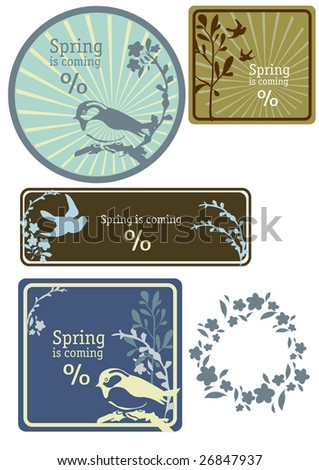 spring flower clip art images. stock vector : banner, spring,
