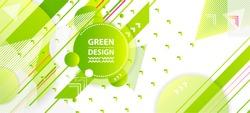 Banner summer ecology poster triangle vector futuristic light minimal geometric hipster white background. Green and yellow lines and points gradient natural