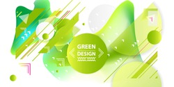 Banner summer ecology white background poster triangle vector futuristic light minimal geometric. Green and yellow lines and points