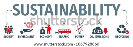 Banner sustainability concept. Society, environment and economy vector illustration