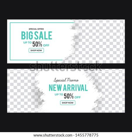 Banner template big sale for social Facebook cover. Vector Illustration