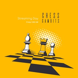 Banner Template for Chess Game. Chess Lessons and Tournament Online Streaming