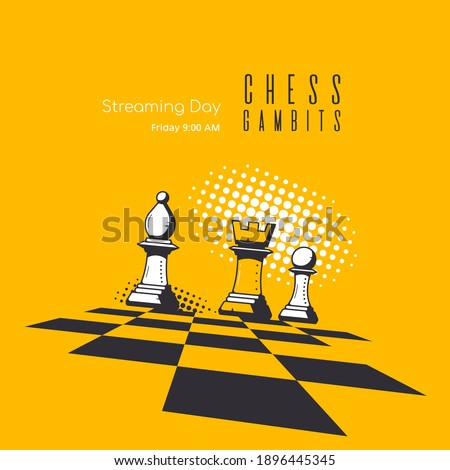 Banner Template for Chess Game. Chess Lessons and Tournament Online Streaming Photo stock ©