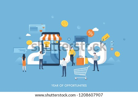 Banner template with 2019 number, giant smartphone and people buying goods online. Year of opportunities for internet retail and shopping, sale and discount. Flat vector illustration for website.