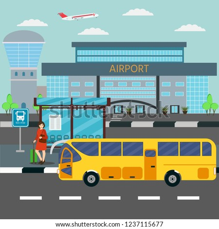 Banner. The woman waiting at the stop bus, airport in the  background. Travel and Tourism Concept.  Vector illustration.