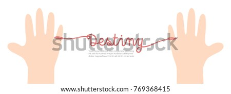 Stock Photo Banner thread red destiny on white background illustration vector. Love concept.