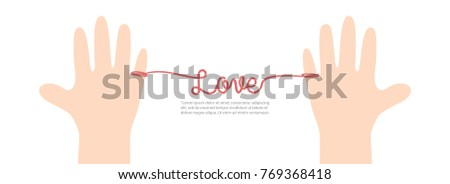 Stock Photo Banner thread red love on white background illustration vector. Love concept.