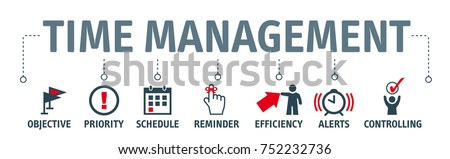 Banner time management concept vector illustration with icons