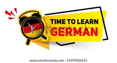 Banner Time to learn German. Alarm clock with a german flag on the dial - training concept  Foto d'archivio ©