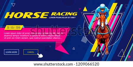 Banner. Universal template for a web site with text, buttons. Jockey on horse. Horse racing. Hippodrome. Racetrack. Jump racetrack. Horse riding. Vector illustration.