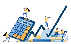 Banner vector design of accounting education and financial literacy to improve economic growth. Illustration concept can be use for landing page, template, ui, web, mobile app, poster, banner, website
