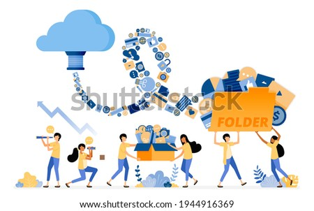 Banner vector design of transfer and save media document data to cloud system storage tech. Illustration concept can be use for landing page, template, ui, web, mobile app, poster ads, banner, website