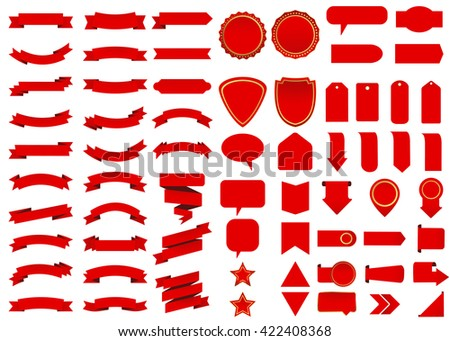 Banner vector icon set red color on white background. Ribbon isolated shapes illustration of gift and accessory. Christmas sticker and decoration for app and web. Label, badge and borders collection.
