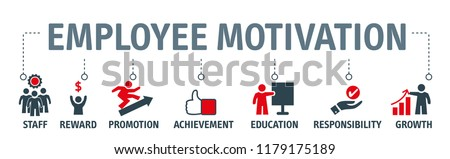 Banner Vector illustration concept of employee motivation, success, achieving career goals