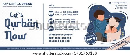 Banner vector islamic for Let`s Qurban now and donate your Qurban. Illustration price list for Qurban or sacrifice. EPS 10