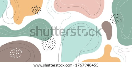 Banner web design template abstract minimal organic shapes composition pastel color background in trendy contemporary collage style. Vector illustration Photo stock ©