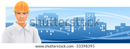 banner with a builder man on city background - vector illustration