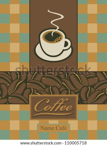banner with a cup of coffee and grains
