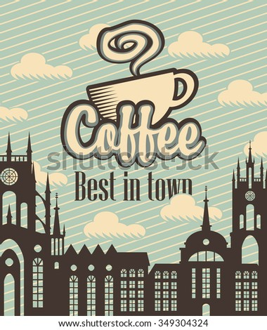 banner with a cup of coffee on