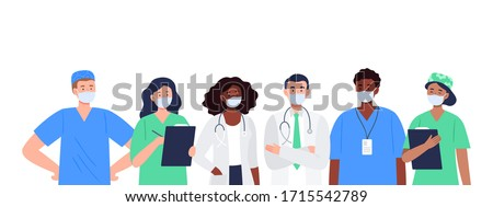 Banner with a multicultural group of medics. The medical team in white face masks. Doctor, nurse, therapist, surgeon, professional hospital workers. Flat design characters.