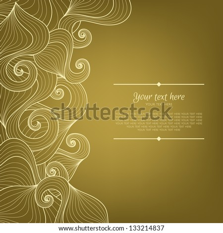 Banner with abstract hand-drawn pattern and place for your text in vector Invitation card