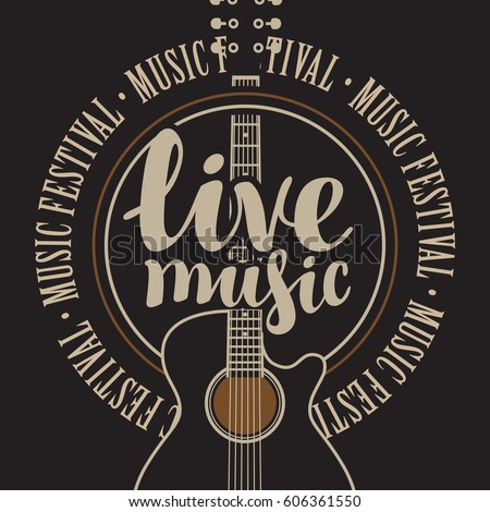 Shutterstock banner with acoustic guitar, inscription live music and the words music festival, written around