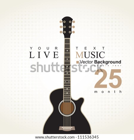 banner with an acoustic guitar on a beige background