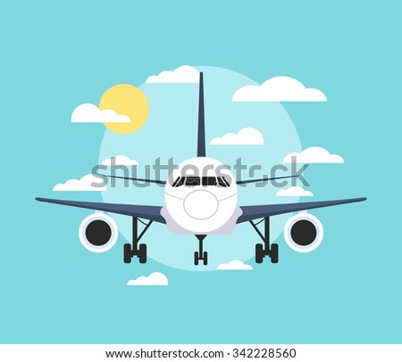 Banner with an airplane. Vector flat illustration