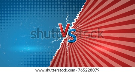 Banner with an explosive announcement of confrontation or battle. Creative letters VS us a symbol of versus on retro background. Vector illustration Stockfoto ©
