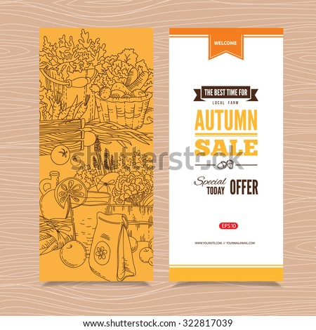banner with autumn harvest