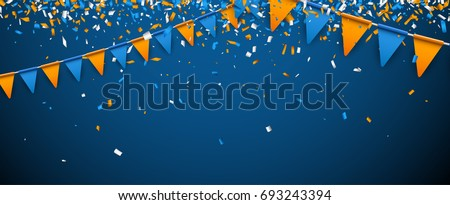 Banner with blue and orange flags and paper confetti. Vector illustration.