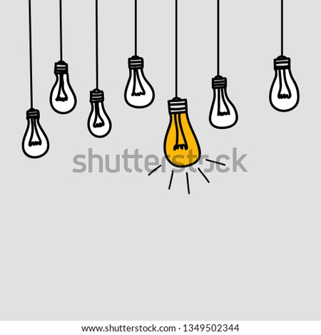Banner with bulb lamps, symbol of intelligence, genius, idea of business insight, concept of leadership. Vector illustration