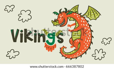 Stock Photo Banner with cartoon dragon of Vikings Age. Vector illustration. Cool print for t-shirt and textile design.