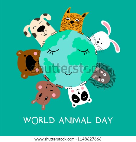 Banner with cat, dog, panda, bear, hippo, rabbit and hedgehog. World animal day. Vector illustration.