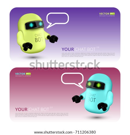 Banner With Chat Bot, The Concept Of Virtual Assistant For UI, Mobile Application Or Website Design. Vector Illustration Of Robot Isolated On Colorful Background With Speech Bubble