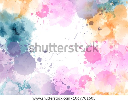 Banner with colorful watercolor imitation splash blots frame in light pastel colors. Template for your designs.